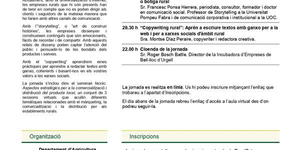 """Jornada gratuïta on line """"EL RELAT DELS ESTABLIMENTS I PRODUCTORS RURALS. COM EL CONSTRUÏM I COM EL DIFONEM ?"""""""