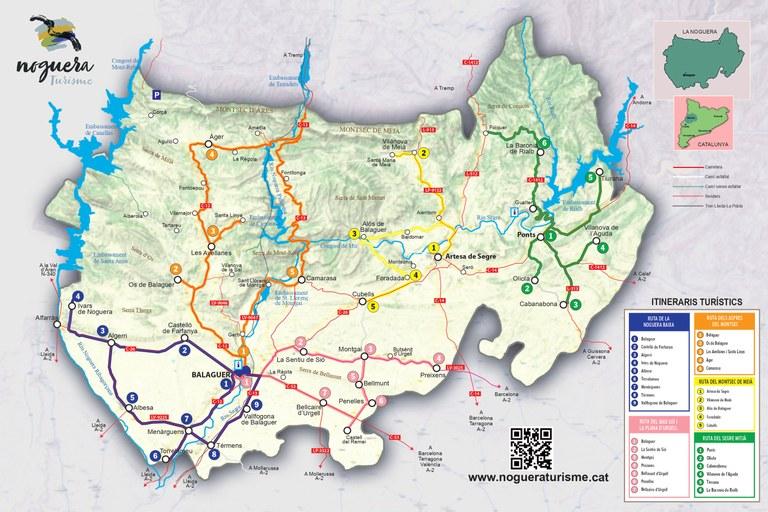 Mapa itineraris turístics de la Noguera